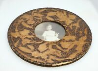 Antique Handmade Round Wood Frame Americana Folk Art Carved