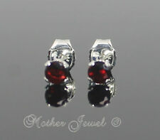 3mm Real Solid 925 STERLING SILVER Garnet Red CZ Earrings Unisex Girls Studs