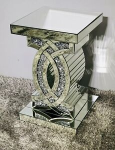 MIRRORED END TABLE SQUARE SPARKLY SILVER CRUSHED DIAMOND CRUSH CRYSTAL SHINE✨💎