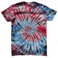 Red & Blue TIE DYE T SHIRT Top Hipster Fashion Tye Die Tshirt Festival Rainbow