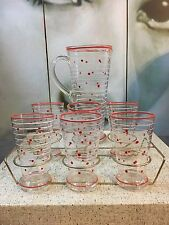 Beautiful Set of Vintage Art Deco Polka Dot Jug & 6 Tumbler Glasses