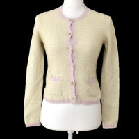 CHANEL 05P #36 CC Button Front Opening Long Sleeve Cardigan Light Green AK44025