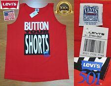 NEW VINTAGE 1992 LEVI'S 501 BUTTON YOUR SHORTS TANK TOP SHIRT USA LARGE RARE