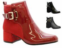 Womens Ankle Boots Block Low Mid Heel Ladies Zip Buckle Strap Smart Booties Shoe