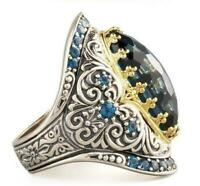 Vintage Engagement Turkish 925 Silver Sapphire Wedding Ring Jewelry Wholesale