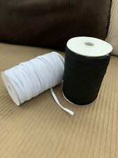 """1/4"""" Elastic Band for sewing, Craft, Mask in Black & White Color 144 Yds x2 Roll"""