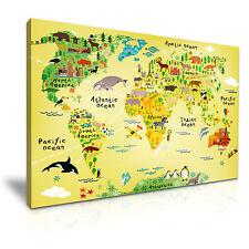 Animal Mapa Para Niños Infantiles tela pared arte Foto impresión A1 76x50cm