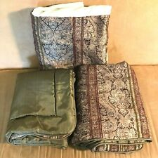 Croscill Tangier King 3pc set bed skirt + 2 pillow shams paisley brown 80 x 78