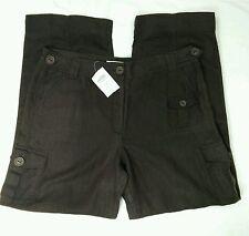 TALBOTS 100% Irish Linen Brown Cargo Pants Size 16 Slacks Trousers Womens NWT