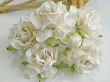 50 Off White Rose Flower Mulberry Paper Scrapbooking Wedding DIY 4.50cm RS450WH1