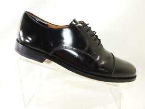 Cole Haan Size 11 D Black Leather Patent Cap Toe Derby Oxford Dress Mens Shoes