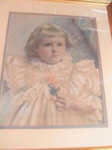 Vintage Portrait Toddler Child Ruffle Dress Framed