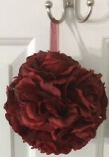 "6"" Red Flower Kissing Ball Wedding Silk Rose Party Pomander"