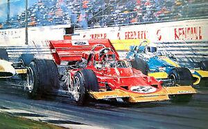 """Nicholas Watts print - """"First Win"""" - Signed by Emerson Fittipaldi & Jack Brabham"""