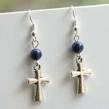 New Tibetan Silver Cross Earrings Lapis Lazuli Beads Sterling Silver Hooks LB96