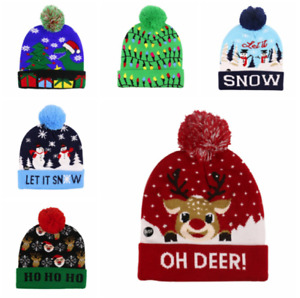 Christmas Party LED Hat Beanie Sweater Christmas Santa Hat Light Up Knitted Hat