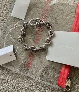 Mens Calvin Klein Chunky Silver Coloured Bracelet - Slim Wrist - BNWT