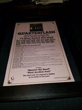 Quarterflash Harden My Heart Rare Original Radio Promo Poster Ad Framed!