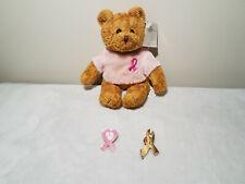 Avon Breast Cancer Crusade Awareness Stuffed Bear and Pink Ribbon Pins Set of 3