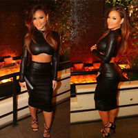 Women Crop Top and Skirt Set Two-piece Bodycon Sexy Long Sleeve PU Leather Dress