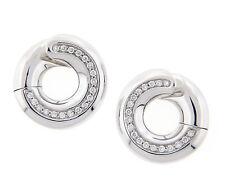 Antonini  Round Hoop Diamond Earrings 18K White Gold NEW .32CT TW