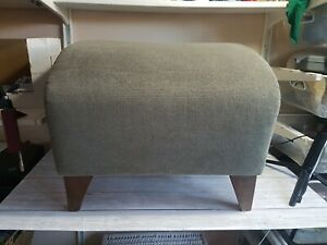 Vintage Retro Footstool Foot Rest Green Arched Fabric Wooden Legs Furniture Home