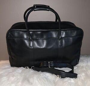 Coach Black Leather Duffle Overnight Travel Suitcase Bag 💕