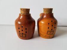 Vintage Wood Weslaco Texas Moonshine Jugs Jars Salt and Pepper Shakers Wooden