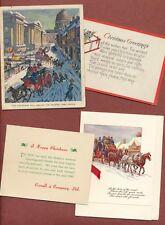 3 Vintage Christmas cards, 1 postcard  G.P.O.,  Corrall's  Horses & Fun    JX954