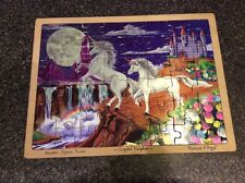 Melissa Doug Hand Crafted Wood Jigsaw Puzzle Crystal Kingdom Unicorns Fantasy