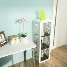 White Fiore Series Display CD Book Storage Cabinet High Gloss With 3 Shelves