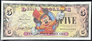 Disney Dollar Mickey 2008 $5 A Series 80th Anniversary UNC F/S 5Digit Crisp A