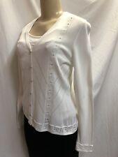 ESCADA-- Off-white Cardigan & Tank Sweater Set-- Floral Knit Design- Sz 38