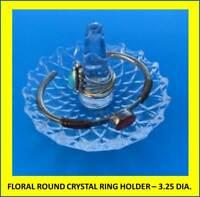 NEW CLEAR LEAD CRYSTAL FLORAL ROUND RING HOLDER – JEWELRY TRINKET DISH, NIB