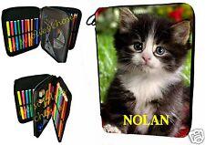 trousse à crayons école garnie chat personnalisable prénom au choix réf 20