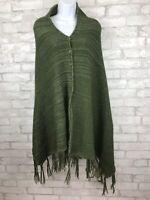 Lularoe Mimi O/S Green Acrylic Button Front Wrap Sweater Shawl Poncho Fringe