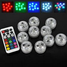 10x RGB LED Light Underwater Party Swimming Pool Spa Bath Light Remote Control
