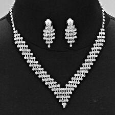 Silver Rhinestone Necklace Set