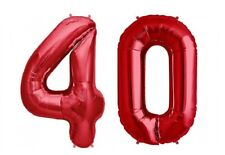 """Giant 40"""" 40 Hot Red Number Balloons 40th Birthday Anniversary Foil Float Helium"""