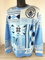 Official Manchester City Football Mens Christmas Jumper GIFT Blue Large  B421