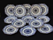 MINTON : 13 assiettes exagonales, superbe décor chinoisant à l'or - 19ème