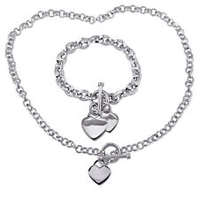 Amour Sterling Silver Linked-Heart Charm Necklace and Bracelet