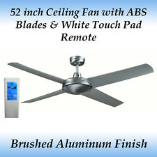Genesis 52 inch Brushed Aluminium Ceiling Fan with ABS Blades + WH Touch Remote