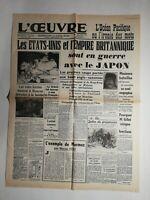 N504 La Une Du Journal L'œuvre 9 décembre 1941 plusieurs bataille navales