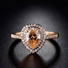Women Pear Citrine Crystal Gold Platinum Filled Promise Quality Luxury Band Ring
