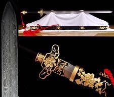 "Chinese Sword ""Peony Jian""(劍)Pattern Steel Copper Ebony Sheath Sharp Hand Forge"