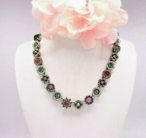 MARIANA GREEN & PINK CRYSTAL FLORAL NECKLACE - never worn