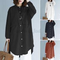 ZANZEA Damen Langarm Hemd O-Neck Knopf Shirts Baumwolle Bluse Longshirt Tasche