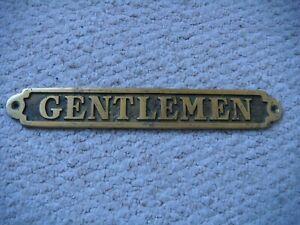 """Vintage Style Solid Brass """"GENTLEMEN"""" Door Sign"""