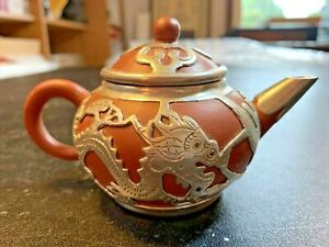 """Vintage Chinese Yixing Zisha Clay Teapot With Pewter Dragon Mounts 5"""" Across"""
